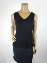 Pierre Cardin Black Knit Top Size Medium Sleeveless Shell Cotton  V neck - $9.50