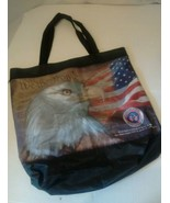 We The People Tote Bag  American Flag Eagle Shopping Zippered Pocket Main - $18.99