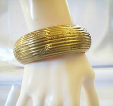 BRASS Embossed Ridged BANGLE Bracelet  Engraved Design Great PATINA Vint... - $12.87