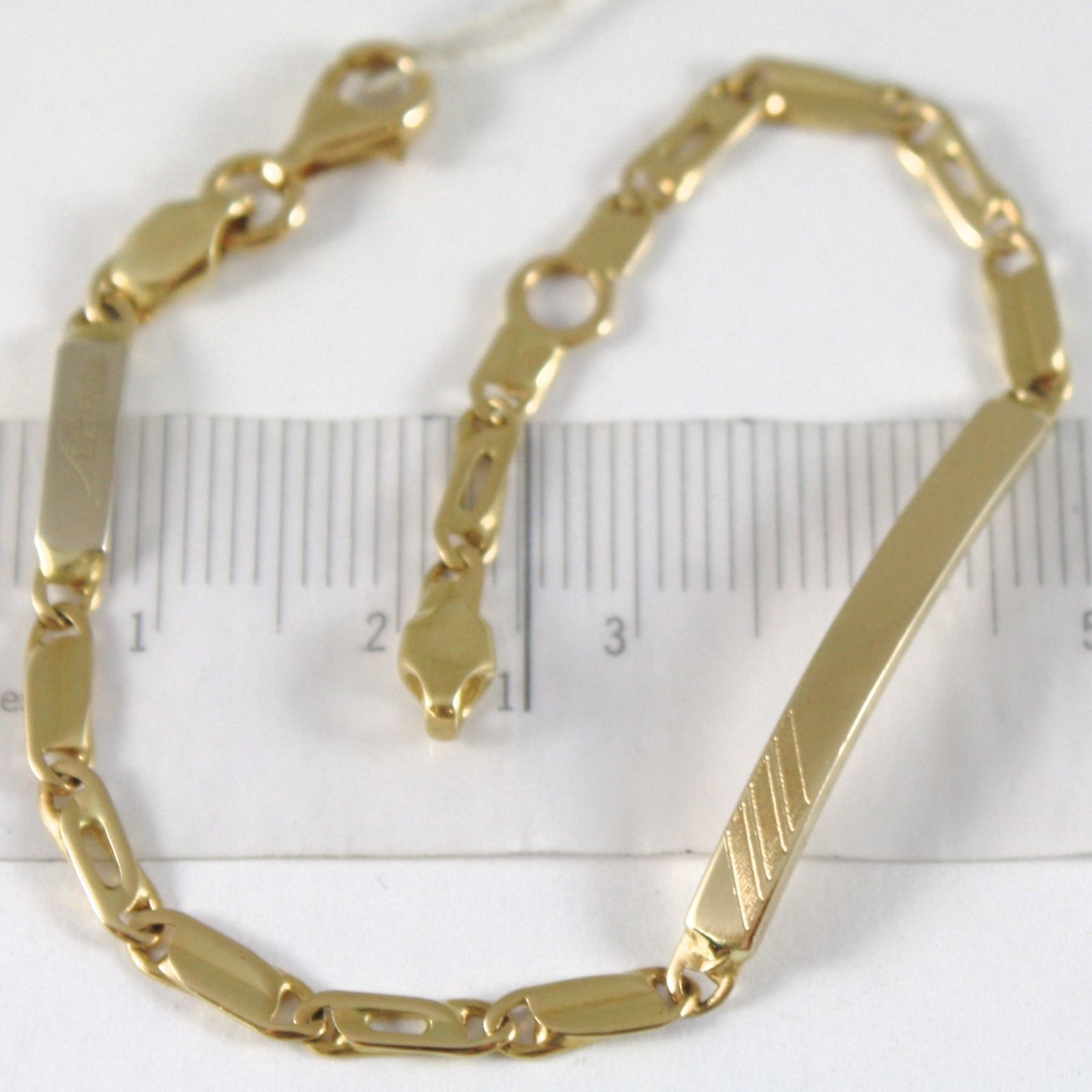 BRACELET YELLOW GOLD 750 18K WITH MESH ALTERNATE AND PLATE FOR INCISION