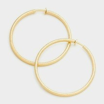 Simple Gold Hoop Clip On Earrings Casual Design Fashion Jewelry Womens 3.25 Inch - $22.77