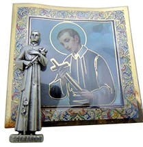 St Saint Gerard Mini Gift Set Tiny Statue & Prayer Card 1 Inch Long - $12.49