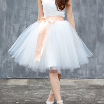 Midi Tulle Ruffle Skirt 6-Layered Ballerina Tulle Skirt Brown White image 2