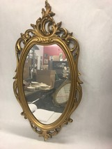 Vintage Gilt SYROCO mirror ornate hanging Hollywood Regency 30 by 15 inch - $79.19