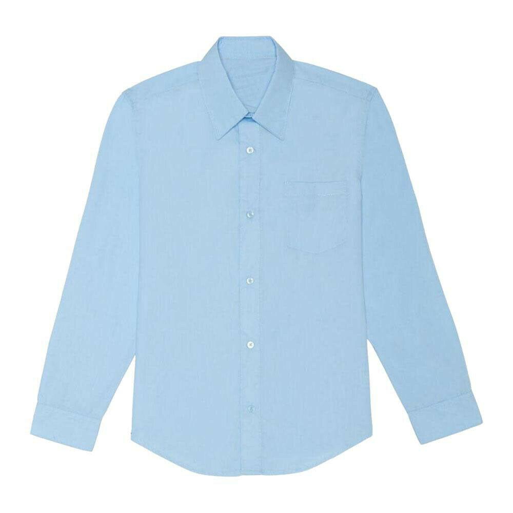 Boy's Classic Cotton Button Closure Casual Blue Kids Dress Shirt XL (18-20)