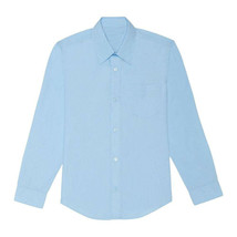 Boy's Classic Cotton Button Closure Casual Blue Kids Dress Shirt XL (18-20)