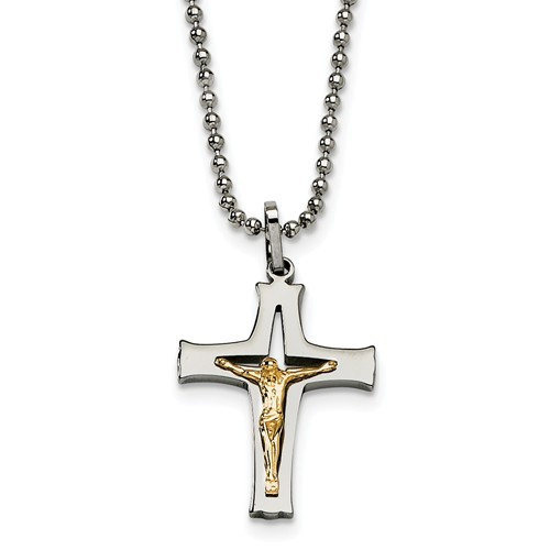 Stainless Steel with 14K Gold Accent Crucifix Necklace