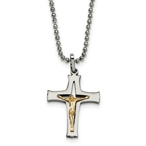 Stainless Steel with 14K Gold Accent Crucifix Necklace - $115.99