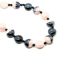 NECKLACE ANTIQUE MURRINA COA39A03 WITH MURANO GLASS ROSE AND BLACK TURTLENECK image 4