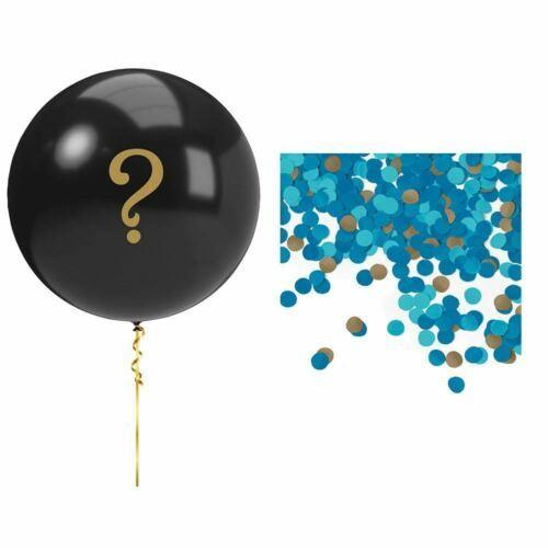 Blue Gender Reveal Balloon Kit Girl Black ? Confetti