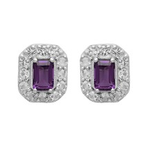 Princess Cut Octagon Amethyst Cubic zirconia Halo Earrings Sterling Silv... - $5.08