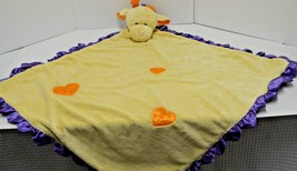 "Baby Ganz Security Blanket Giraffe Yellow Purple Satin Back 27""x27"" As Is - $13.40 CAD"