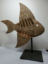 Modern Bronze Copper Color Metal Fish Decor Mounted On Metal Stand Rever... - $96.02