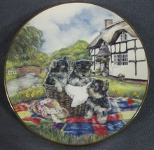 Picnic Playtime Collector Plate Cottage Puppies Karen George Dogs Puppy - $19.95