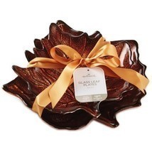 Autumn Leaf Glass Plates Set 2 Hallmark Thanksgiving Fall Harvest Servin... - £23.52 GBP