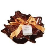 Autumn Leaf Glass Plates Set 2 Hallmark Thanksgiving Fall Harvest Servin... - $39.75 CAD