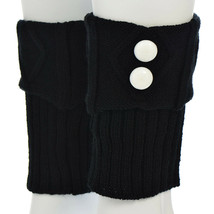 "7"" Black Knit Boot Cuffs with White Buttons - $12.60"