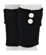 """7"""" Black Knit Boot Cuffs with White Buttons - $12.60"""