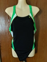 Nike Womens Size 12 Competition Swimsuit Diving Swimming Black Green Ope... - $14.00