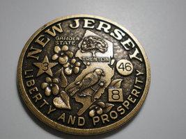 Vintage New Jersey Souvenir Bronze Medallion medal - $19.95