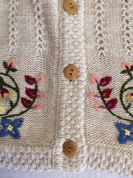 Marisa Christina S M Blue Floral Fabric Back Tan Oatmeal Sweater Vest image 3