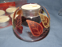 PIER ONE TEALIGHT GIFT SET  FALL LEAVES 5 VOTIVE CANDLE NEW IN BOX - $11.87