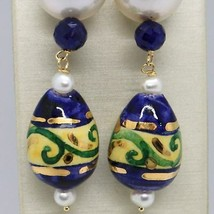 Yellow Gold Earrings 18K Pearls Sapphires and Drop Hand Painted by Made in Italy image 1