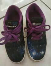 HEELYS (Galaxy) Skate Sneakers Girls or Boys Youth Size 4 Black & Purple... - $13.99