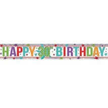 Amscan 9900029 2.7 M Happy 30th Birthday Holographic Foil Banner #egi - $5.29