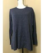 STYLE & CO Women's S Denim Blue Cotton Knit Basic Pullover Sweater Side Slit - $17.41