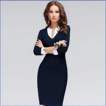 Prima Donna Three Quarter White Cuff Sleeves and V Neck Collar Navy Pencil Dress