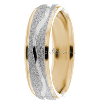 14K Solid Two Tone Gold Mens Womens Wedding Bands Rings His Her Wedding Ring Set - $401.12