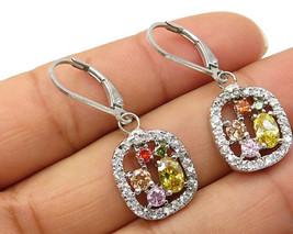 925 Sterling Silver - Vintage Multi Color Cubic Zirconia Dangle Earrings... - $28.14