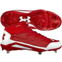 Under Armour Mid ST Compfit Red White Baseball Cleats 16 FREE SOCKS - $14.87