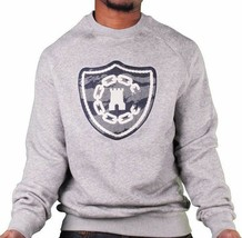 Crooks & Castles Tiger Camo Denim Men's Knit Crew Neck Sweatshirt Grey NWT