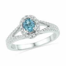 10kt White Gold Womens Oval Lab-Created Blue Topaz Solitaire Diamond Ring - £171.05 GBP