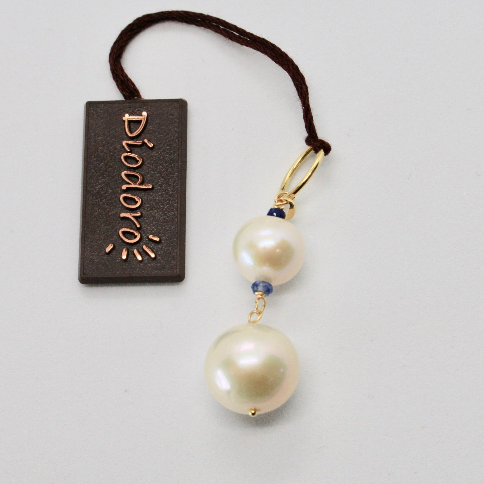 SOLID 18K YELLOW GOLD PENDANT WITH 2 WHITE FW PEARL AND SAPPHIRE MADE IN ITALY
