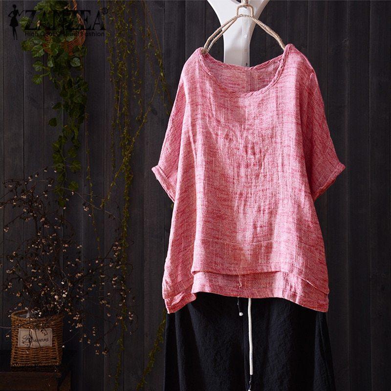 2018 ZANZEA Women Vintage Summer Blouse Casual O Neck Short Batwing Sleeve Solid