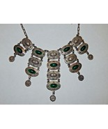 DLH DEPOSE Signed Bib Necklace with Chrysoprase Colored Cabochons French - $149.99