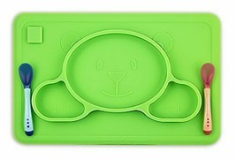 Toddler Placemat + 2 Spoons - No More Mess - BPA Free Silicone Plate Set... - $23.46