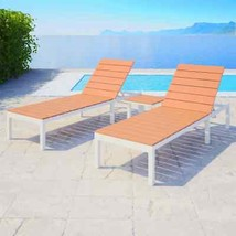 "vidaXL 2x Sunlounger w/ Table WPC 24.8""x78""x(13""-36.2"") Patio Outdoor Re... - $329.99"