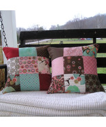Handmade Quilted Pillow Cover Set 14x14 Inch Pink/Brown Contemporary Print - $34.60