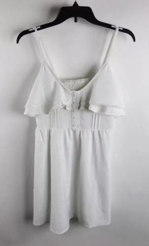 Tobi White Ruffle Trim Cinched Back Shift Top SzS