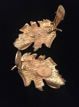 Vintage Hope Chest gold leaf brooch and clip on earrings set image 3