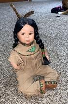 "Native American Indian 13"" Porcelain Sitting Beautiful Girl Doll - Madis... - $19.06"