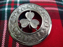 """Broche Kilt Celtique Trèfle Irlandais Finition Antique 4 /""""// Pins Écossais"""