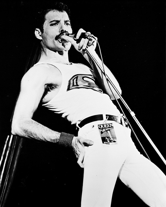 Queen B&W 16x20 Canvas Giclee Freddie Mercury Vest And Tight Pants Concert