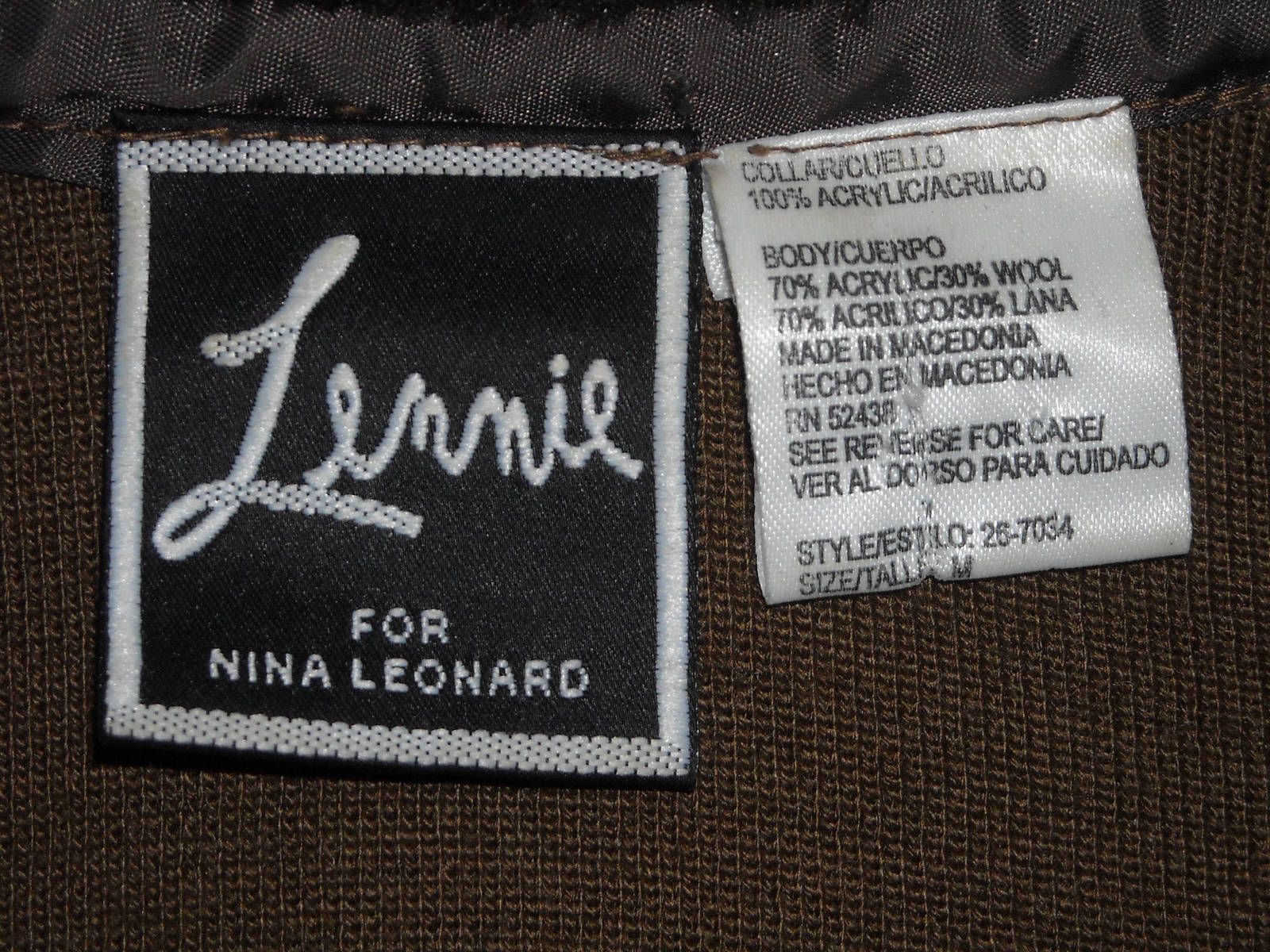 Women LENNIE Nina Leonard Cropped Sweater With Faux Fur Collar Brown (M) Acrylic image 2