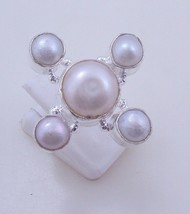 Ring Size 6.5  Pearl  Silver Overlay Handmade Ring Jewelry f-311 _15 - $2.47