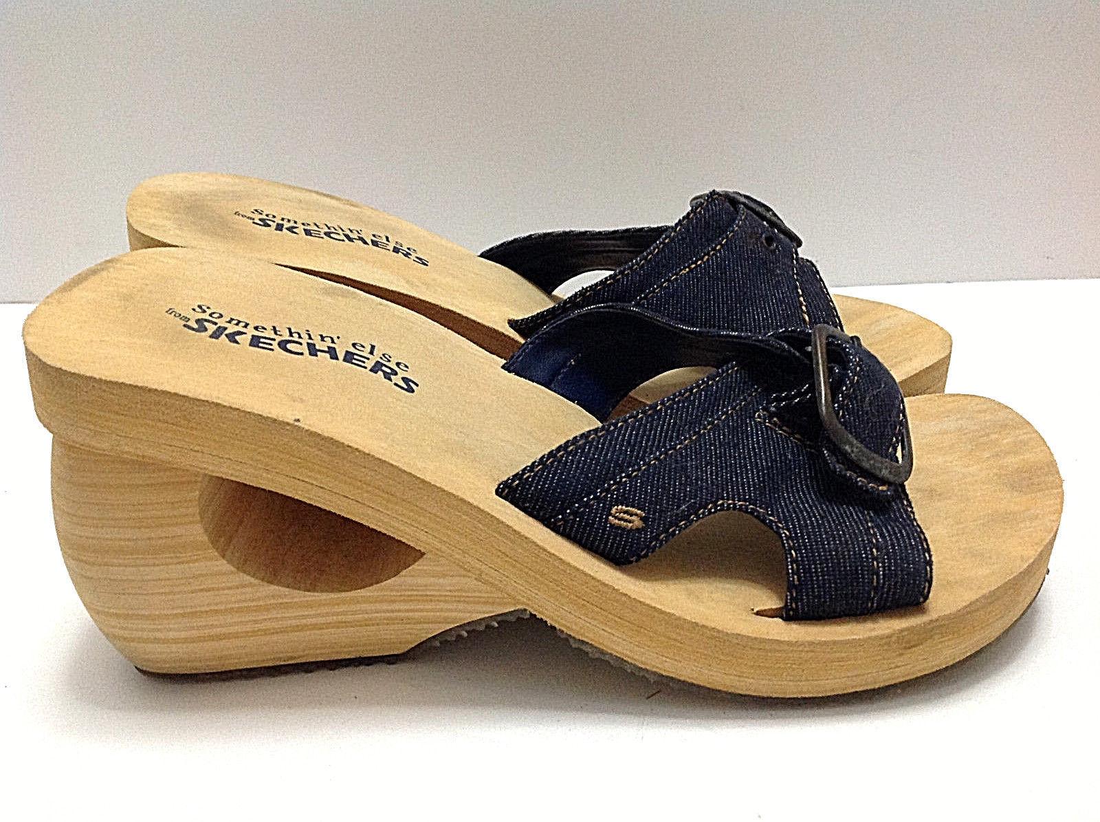 51a3d09d4585 ... Skechers Something Else Women s Wedge Sandal Blue Denim With Buckle  Size ...